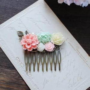 Peach Pink Mint Green Ivory Flowers..